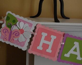 Butterfly Flower Happy Birthday Banner, White Daisy and Butterfly Birthday Banner, Daisy Theme,