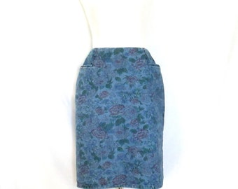 1980's Denim Floral Skirt Rose Print Jean Skirt 80'sDenim Pencil Skirt Size 10 Skirt 80's Flower Print Jean Skirt Hipster 80's Clothes