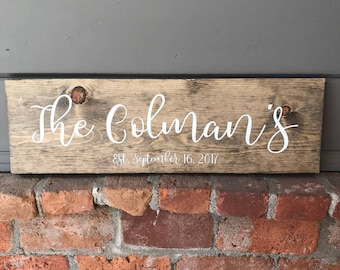 Family Name Wood Sign | Last Name Sign | Wooden Sign | Rustic Wood Sign | Wedding Gift | Engagement Gift | Family Wooden Sign | Est Sign