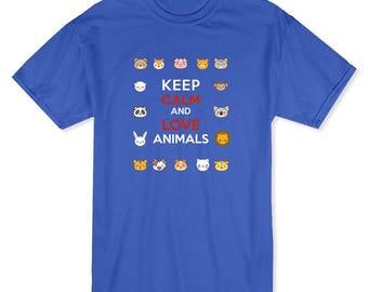 Keep Calm And Love Animals Men's T-shirt
