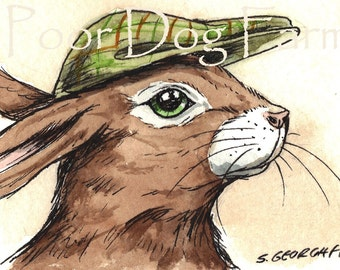 ACEO signed PRINT - A Hare in a Hat-