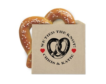 Wedding Favor Pretzel Bags - Pretzel Favor Bags - We Tied the Knot - Double Opening Grease Resistant Kraft Favor Bags