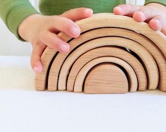 Wooden Rainbow, 6 piece - Natural, Waldorf Blocks, Eco-friendly toy, Waldorf Toy, Non-toxic Toy