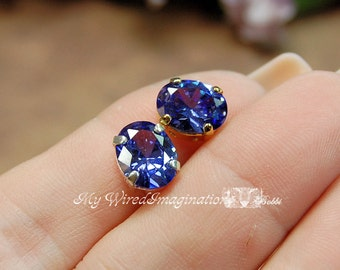 Tanzanite CZ 10x8mm Faceted Oval Gemstone Your Choice Silver or Gold Plated Sew On Setting Jewelry Supply December Birthstone