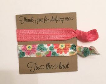 Bridesmaid hair tie favors//hair tie favor, party favor, hair tie card, bridesmaid hair ties, bridesmaid gift, bachelorette favor, wedding,