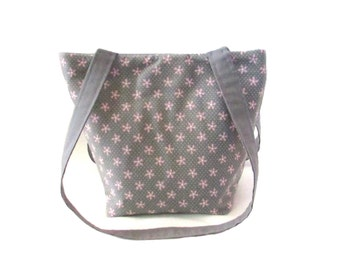 Gray Purse, Small Tote Bag, Pink Flowers, Polka Dots, Floral Fabric Bag, Handmade Cloth Purse, Shoulder Bag, Teen Purse