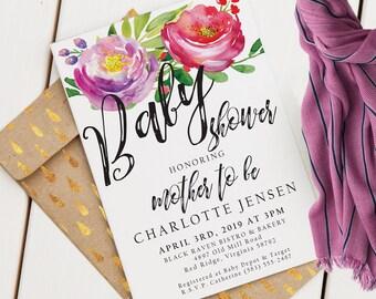 Floral Baby Shower Invitation   Custom Shower Invite   Editable Baby Shower Invitation   Watercolor   Floral Baby Shower   Instant Download