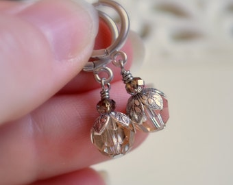 Antique Silver Earrings, Real Swarovski Crystal, Taupe Golden Shadow, Pale Gold, Hoop Earwires, Bridesmaid Jewelry