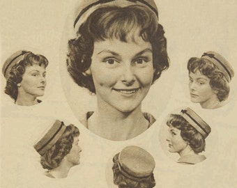 Pillbox Pill Box Hat Instructions 1959  Downloadable PDF Vintage Pattern
