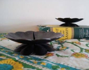 Vintage Metal Candle Holders - Made in Austria - Scalloped Flower Petal Shaped - Set of 2