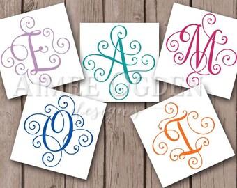 Scroll Decal -  Elegant Scroll Decal - Fancy Monogram  Decal - Wedding Decal - Single Initial Decal - Custom Vinyl Script Monogram Sticker