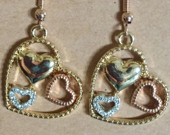 Many Hearts Earring Set/ Silver/ Gold/ Rose Gold/ Dangles snd Drops/ Fish Hook Wires