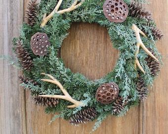 Winter Wreath, Antler Wreath, Natural Wreath, Pinecone Wreath, Evergreen Wreath, Front Door Wreath, Antlers, Woodsy Wreath, Holiday Decor
