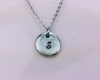 personalized initial necklace / Hand stamped necklace