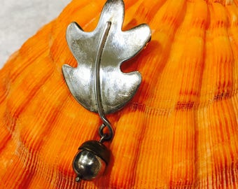 LOVELY LEAF and ACORN Sterling Silver Pin