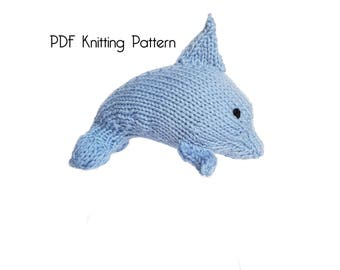 Original hand knit heritage stuffed animals by twosistersteddybear knitted jumping dolphin pattern pdf pattern knitting pattern diy knitted dolphin dt1010fo