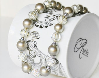 Silver Pearl Necklace Handmade Jewelry with Silver Beaded Necklace Swarovski Pearls