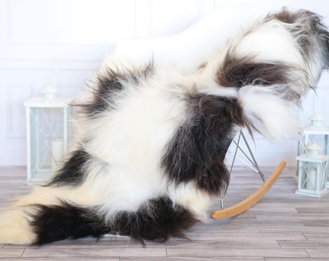 Icelandic Sheepskin | Real Sheepskin Rug | Black White Sheepskin Rug | Fur Rug | Christmas Decorations #ISLA27