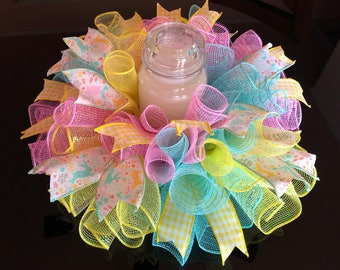"""17"""" Easter Deco Mesh Bunny Centerpiece/Candle Holder - Multicolor Pastels"""