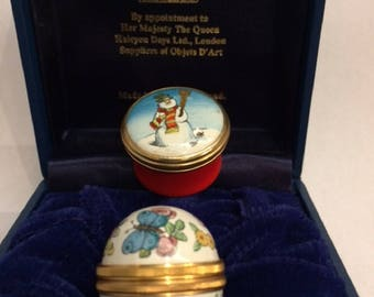 Vintage Halcyon Days Enamel Butterfly Egg and Snowman Red Trinket