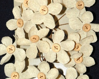 BURLAP FLOWERS 16 Button Linen Daisy Wired Picks, 2 Inches Wide, Clip and Add to Frames, Boxes, Jars, Pictures, Candles, Wood