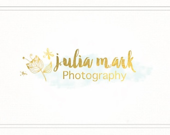 Fairytale Logo Watercolor, Gold Foil Logo Design, Premade Photography Logo and Watermark, Gold Brushed Logo, Gold Logo with Flowers, L051