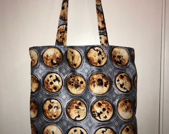 "Pan Muffins !! w/ matching handles cotton fabric handmade 16"" Tote Bag"