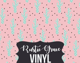 Cactus Vinyl / Cactus Heat Transfer Vinyl / Pink Mint Cactus Vinyl / Adhesive Vinyl / Oracal Vinyl