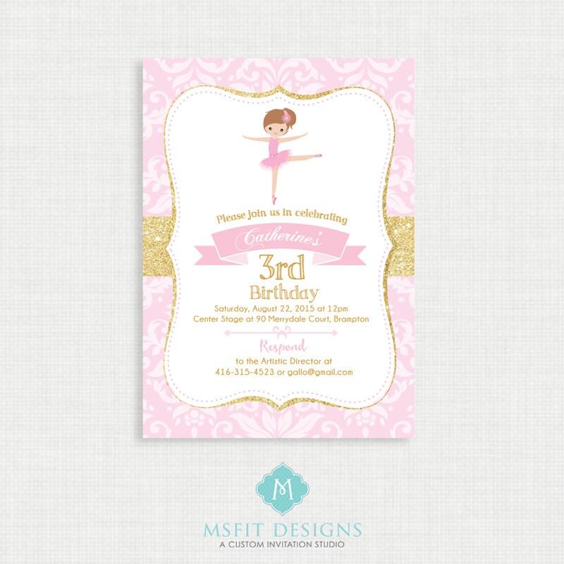 Ballerina Birthday Invitation Ballerina Birthday Printable
