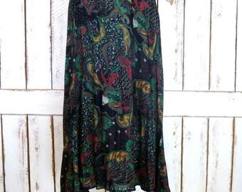 Black colorful floral and paisley print boho vintage maxi skirt/sheer gauzy festival gypsy skirt