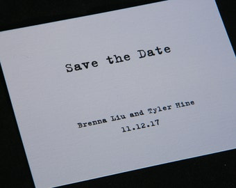 Simple Typewriter Style Save the Date printed on elegant white linen card stock