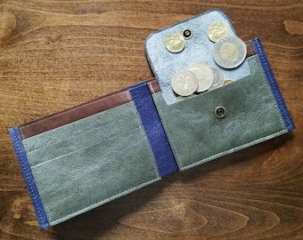 Mens Wallet With Coin Pocket, Leather Bifold Wallet, Anniversary Gift for Him, Mens Minimalist Wallet - The Frankie Coin Wallet in Granite