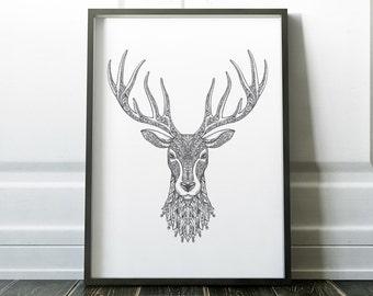 Stag Print, Stag Art, Scandinavian Print, Wall Art Prints, Minimalist Print, Modern Art, Wall Art, Minimalist Art, Prints, Modern Print, Art
