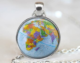 Globe Pendant, Globe Art Pendant, Globe Art Necklace, Globe Jewelry, World Map Pendant, Art Pendant, Vintage Map Pendant, Bronze Silver, 144