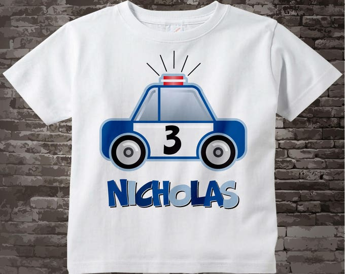 3rd Birthday Shirt, Boys Third Birthday Police Shirt, Personalized Police Car Shirt, Policeman Shirt with childs name and age 09082014a