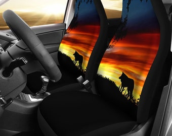 Lone Wolf Husky Sunset Designed Car Seat Covers