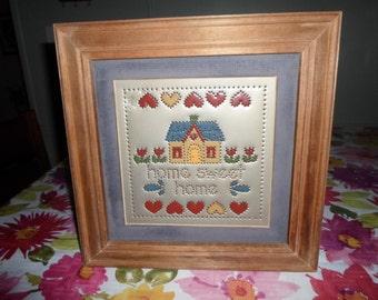 Vintage Punched Tin Framed Home Sweet Home