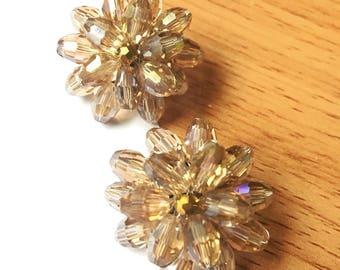 Clip on earrings flowers crystal handmade.