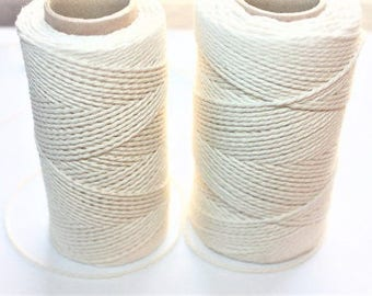 2 mm Cotton Yarn = 1 Spool = 110 Yards = 100 Meters Natural and Elegant 100 % COTTON Twisted CORD ercu cotton bare cotton organic rope