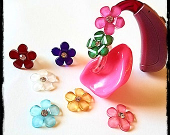 Hearing Aid Tube Trinkets:  Petite Jeweled Flowers.  Available in 4 great colors!  Please select quantity 2 for a pair!