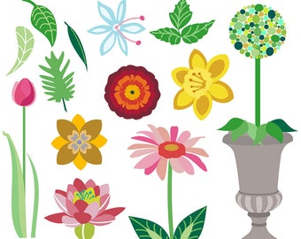 Flower Clipart, Flower Clip Art, Waterlily Clipart, Daffodil Clipart, Daisy Clipart, Topiary Clipart, Rose Clipart, Royalty Free