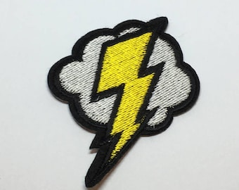 Lightening Bolt Cloud Iron on Patch