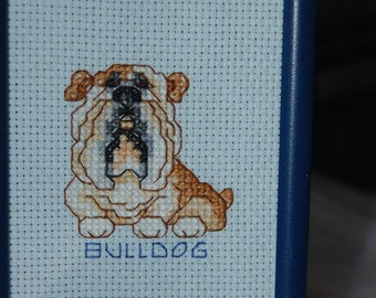 CARTOON BULLDOG - Completed and Framed Cross Stitch