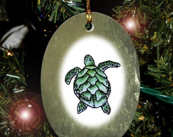Sea Turtle Totem Animal Yule, Holiday, Christmas Ornament