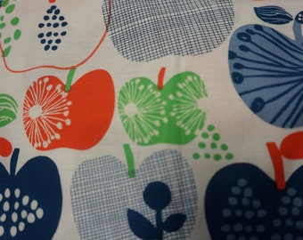 Apple fabric, red , blue, pink and white apples on white Organic cotton woven fabric by Windham Fabrics