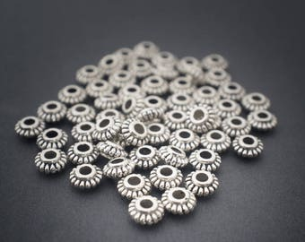 20 pcs - small rondelle spacer beads round saucers • • • • 6mm silver plated