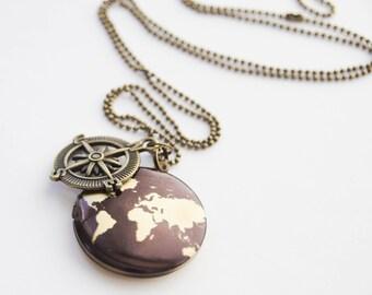 World Locket, Wander Locket, Travel Locket, Traveller Locket, Wander Necklace, Compass Locket Necklace, Photo Locket, World Traveller Locket