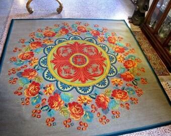 "Vibrant Art Nouveau Wool Artisan Rug by Stanislav V'Soske 96"" x 96"""