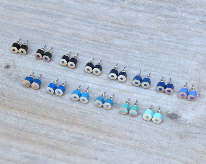Blue Color Pencil Ear Studs, Blue Earring Stud, 14 Shades Of Blue, Handmade In England