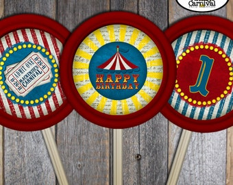 Carnival Lollipop Labels | Circus Lollipop Labels | Carnival Decorations | Circus Decorations | Carnival Favor | Red Blue Yellow | Printable